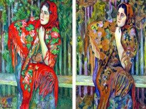 Слева - оригинал картины, справа - копия, выполненная протанопом