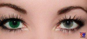 Тонированная линза для зрения слева усилит оттенок радужки