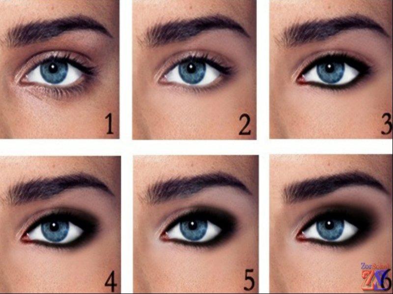 Как правильно красить голубые глаза пошагово в